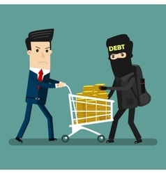Businessman get robbery by business hands vector