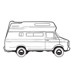 Camping trailer car side view black and white vector