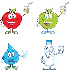 Cartoon characters holding drink vector