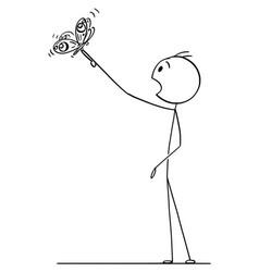 cartoon drawing of man watching beautiful vector image