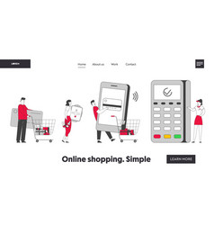 Cashless paying website landing page customers vector
