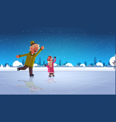 Children couple skating on ice rink winter sport vector