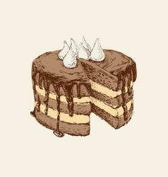 chocolate cake hand drawn vector image