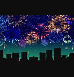 cityscape with celebration fireworks banner vector image