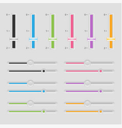 colorful horizontal and vertical sliders ui vector image