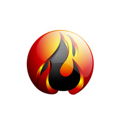 concept abstract design flame fire ball logo vector image