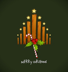 creative christmas tree with wood vector image