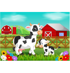 cute cow in the farm vector image