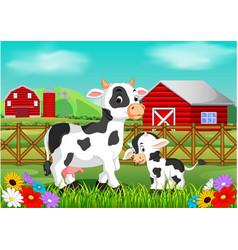 Cute cow in the farm vector