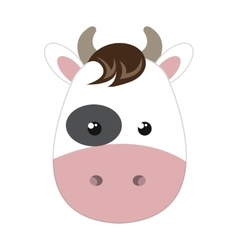 cute little cow animal character vector image
