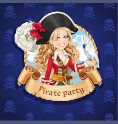 cute pirate girl with parrot banner for pirate vector image