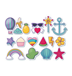 Cute related icons vector