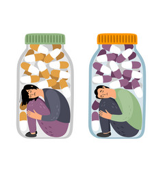 depresed people with drugs vector image