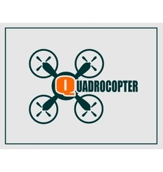 Drone quadrocopter icon Quadrocopter text vector image