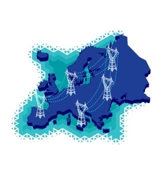 Electric Power Network in Europe vector