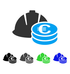 Euro coins and helmet flat icon vector