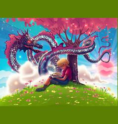 Fantasy japanese dragon with kid boy reading book vector