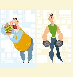 fat man and sportsman vector image
