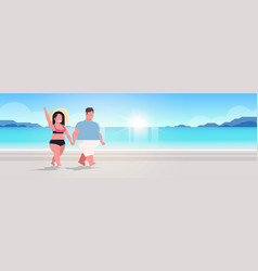 fat obese couple walking sea beach overweight man vector image