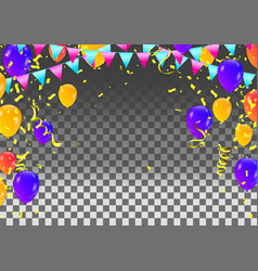 festive balloons and confetti birthday card vector image