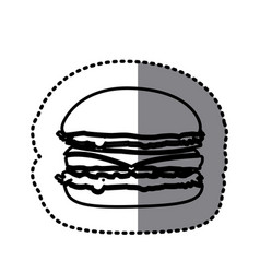 figure hamburger fast food icon vector image