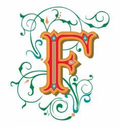 Floral letter f vector