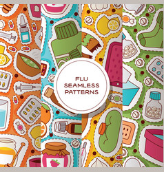 flu seamless pattern sick character with vector image