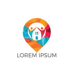 Foster home locator logo design vector