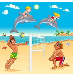 Funny summer scene with dolphins and beachvolley vector image