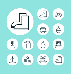garden icons set with wheat waterproof boot vector image