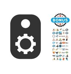 Gear Tag Icon With 2017 Year Bonus Pictograms vector