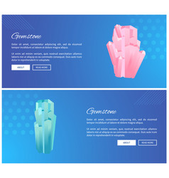 Gemstones web posters set minerals and crystals vector