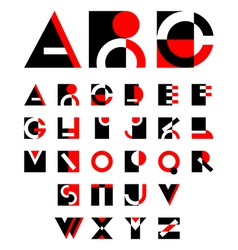 Geometric red and black alphabet design vector