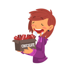 Girl holding box full chocolate bars with drool vector