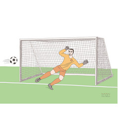 goalkeeper jumping to catch the soccer ball vector image