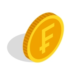 Gold coin with Swiss Frank sign icon vector