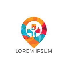 gps cross hospital logo design vector image