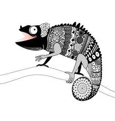 Graphic ornamental chameleon vector