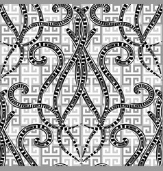 Greek black and white geometric seamless pattern vector