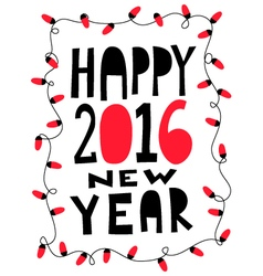 Happy 2016 new year card with garland vector