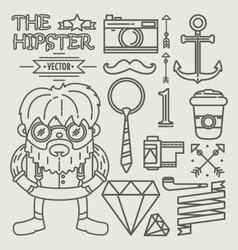 Hipster character design Linear vector