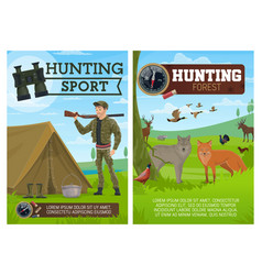 hunting sport poster hunter and animals vector image
