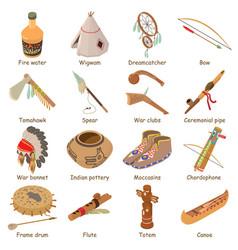 Indians ethnic american icons set isometric style vector