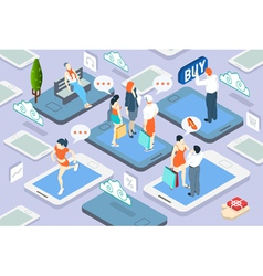 Isometric People Network Concept vector image