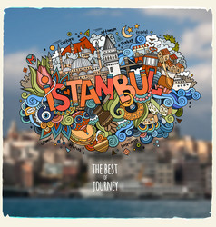 Istanbul hand lettering and doodles elements vector
