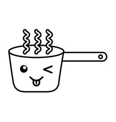 kawaii cooking pot cartoon vector image