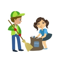 Kids With Broom And Binbag vector