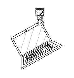 laptop wih crane hook in black and white vector image