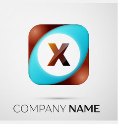 letter x logo symbol in the colorful square on vector image