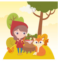 Little red riding hood and wolf with basket food vector